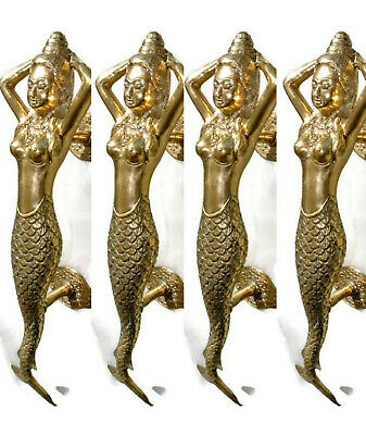 "4 medium MERMAID brass door PULL old style heavy house PULL handle 13"" aged B"