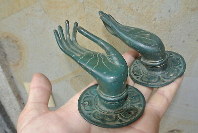 Pair elegant BUDDHA Pull handle hand brass green patina old style knob 6.5cm B