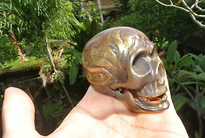 small aged head skull brass day of the dead hollow brass aged heavy 7.5 cm B