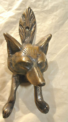 small FOX head old heavy front Door Knocker SOLID BRASS vintage antique style B