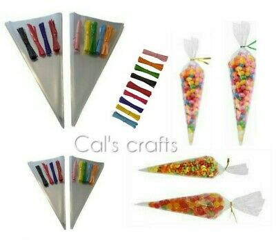 Clear Cellophane Cone Bags MEDIUM Sweet Party Favour Gift cello & Polka Dot Ties