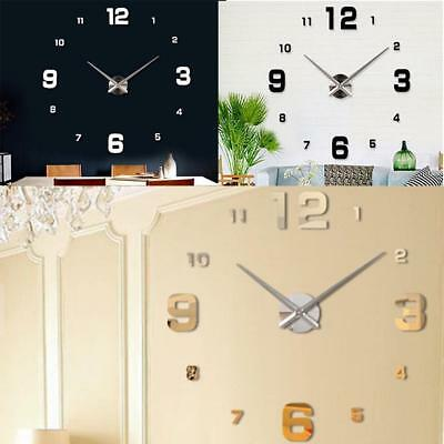 Frameless Big DIY Art Wall Clock Creative Watch 3D Home Stickers Large Number AL