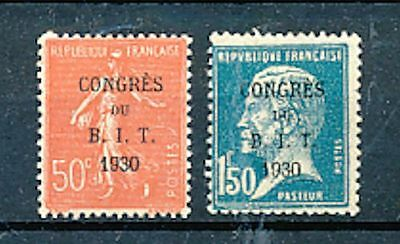 Timbre Stamp Zegel France Surcharge Congres B.i.t. 1930 264-265 Xx