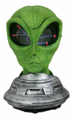 UFO Space Roswell Green Alien Mask Head With Electric Plasma Sphere Lamp Statue