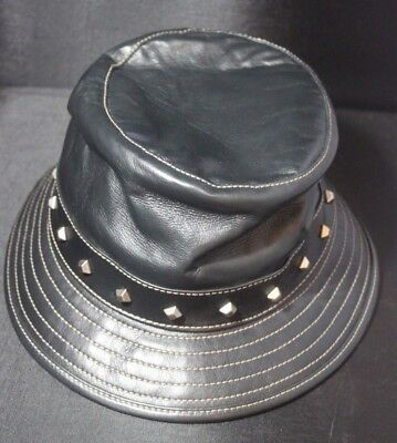 849173b36 GUCCI BLACK LEATHER Bucket Hat Studded Size S Fall 2007 Menswear Collection