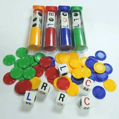 Febbya LCR Dice Game,4 Tubes Left Center Right Family Dice Games