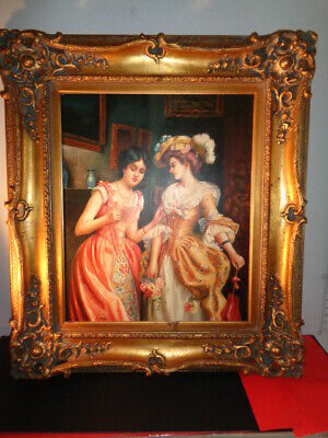 """Vintage J. Pery Signed oil on Canvas Painting of 2 Victorian Ladies (21 by 24"""")"""