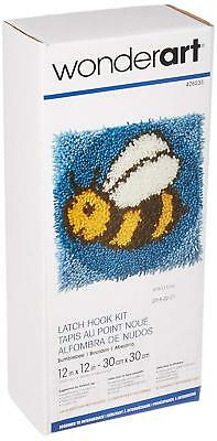 "Bumblebee Latch Hook Kit 12x12"" Caron. Plain canvas, graph and yarn"
