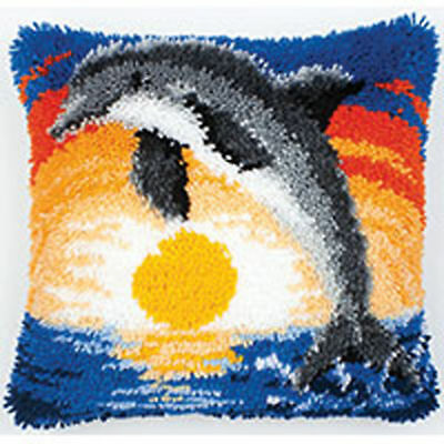 Dolphin Sunset Latch Hook cushion front kit by Vervaco 40x40cm latch hook canvas