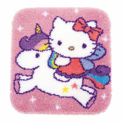 Hello Kitty & Unicorn latch hook kit rug making kit 55x61cm printed canvas