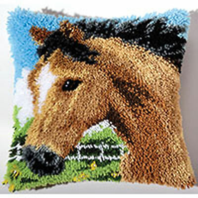 Horse Latch Hook Kit Latch Hook cushion 45x45cm includes latch hook tool