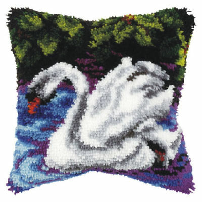 Swan Latch Hook Cushion Front Kit. Orchidea, 40x40cm Printed canvas