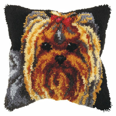 Yorkie Latch Hook Cushion Front Kit. Orchidea, 40x40cm Printed canvas