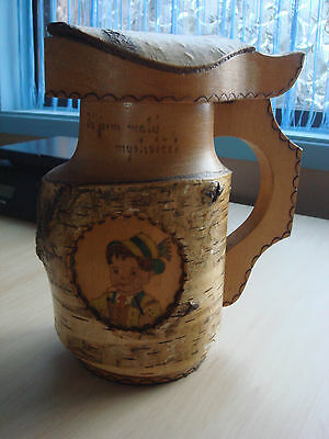 Large Vintage Hand Carved Burned And Painted Birch Tree Wood Beer Mug Myslivecek