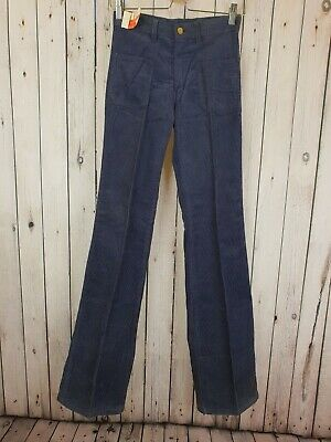 Vtg 1970s Dead-stock Blue Slim Fit Jeans Style Cord Bootcut Trousers W27 L35 B20