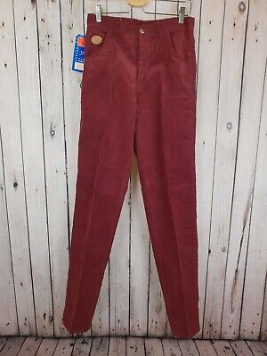 Vtg 1970s Dead-stock Wine Corduroy Slim Tapered Leg Jeans / Trousers W30 L35 B25