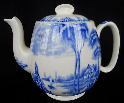 A Blue & White Palissy Teapot ~ Decorated In The ' Lakeland ' Pattern - V Fine !