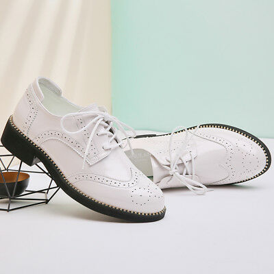 Elegant Womens  Preppy Chic Girls Patent Leather Brogue Lace Up Casual Flat Shoe
