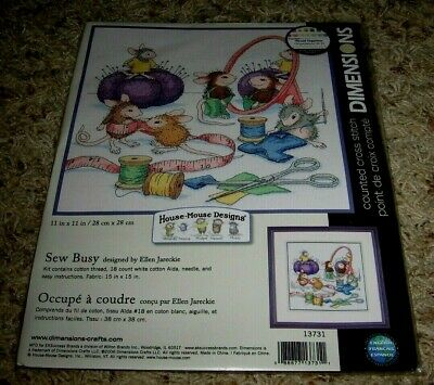 Dimensions~House-Mouse Designs~Sew Busy~Cross Stitch Kit~#13731~Nip