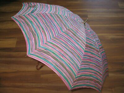 Vintage Peck & Peck Umbrella w/cover Bamboo Handle Rainbow Stripe-Canopy-Cute