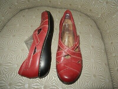 921a96d2 CLARKS BENDABLES ASHLAND Spin Q Womens Burgundy Red Leather Loafer Flat 9M  65651