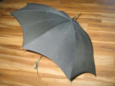 Vintage Umbrella / Italian Parasol / Carved Lucite Handle /Black Canopy-1950s