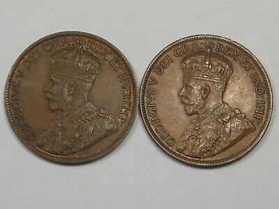 2 XF+ Canadian Large Cent Coins: 1915 & 1916. Full Crown. CANADA.  #22