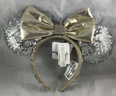Disney Parks Minnie Mouse Ears Bow Castle Jewel Silver Headband Hat Sequin - NEW