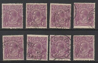 1921 4d VIOLET KGV single watermark, 8 stamps, Used