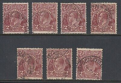 1928 2d RED-BROWN KGV small multiple watermark, 7 stamps, Used