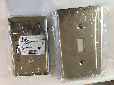 (9) NIP Hubbell S1 stainless steel 1-gang 1-switch wall plates covers