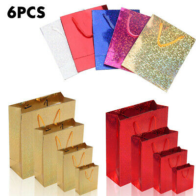 6x Paper Gift Bags Wedding Christmas Gift Bags Supplies Holographic Party Decor