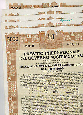 Set 5 Austrian Government Int. Loan 1930, Lire 5000, ital. Issue, gelocht/Kupons