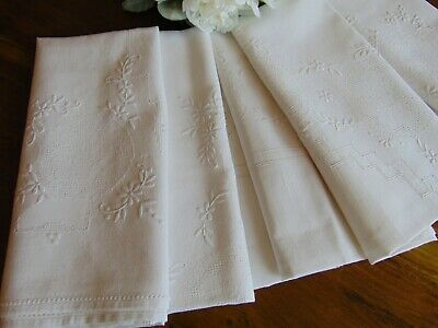 Vintage Outstanding White On White Hand Embroidery Half Linen Large Tablecloth