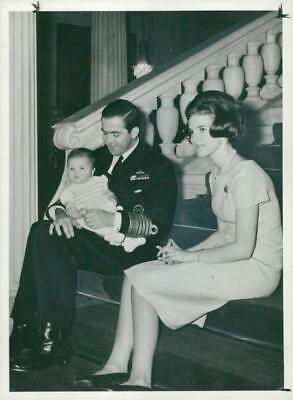 King constantine with wife Queen Anne-Marie of Greece. - Vintage photo