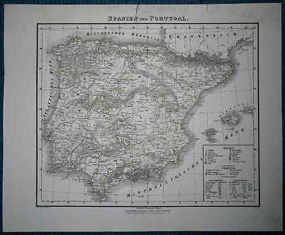 1848 Sohr Berghaus map SPAIN AND PORTUGAL (#51)