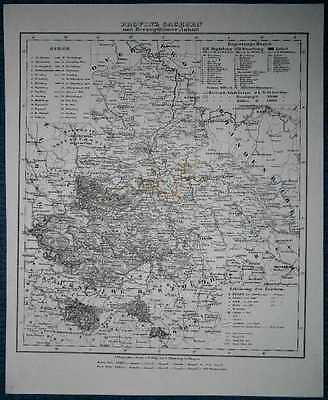 1848 Sohr Berghaus map PROVINCE OF SAXONY AND ANHALT DUCHIES, KINGDOM OF PRUSSIA