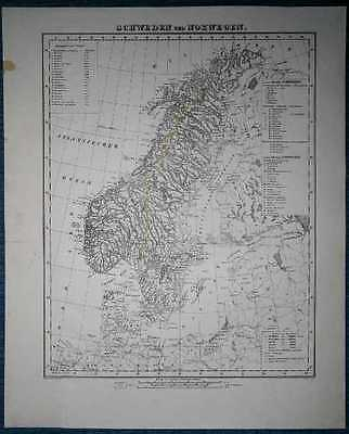 1848 Sohr Berghaus map SWEDEN AND NORWAY (#62)