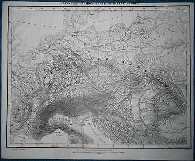 1848 Sohr Berghaus map RIVERS AND MOUNTAINS OF CENTRAL EUROPE (#9)