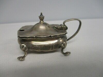 Antq 1913 Birmingham English Sterling Silver Footed Lidded Handled Mustard Pot