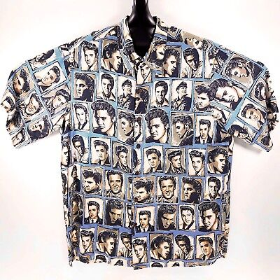 5c2984dd NEW REYN SPOONER Elvis Presley Hawaiian Aloha Shirt Medium Blue ...