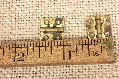 "2 very tiny small brass hinges old door narrow butt 1/2 x 1/2"" tarnished vintage"
