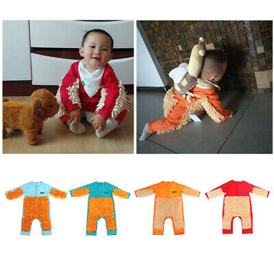 Baby Mop Romper For Kid Boy Girl Clothes Crawling Jumpsuit Cleaning Mop Suit