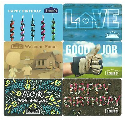 Lot Of 6 Lowes Gift Cards No Value Collectible Birthday Mom Love Home