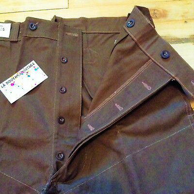 FRENCH 1940s MEN WORKWEAR WORK PANTS & SUSPENDER BUTTONS & CINCH BACK - NEW - XL