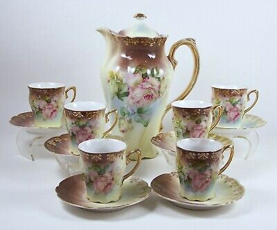 Vintage Chocolate Pot Set Hand Painted Roses Two Tone 6 Chocolate Cups Germany