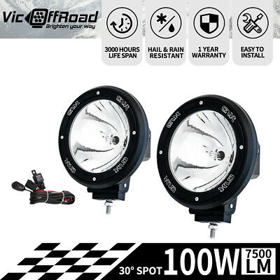 Pair 7inch 100W HID Xenon Driving Light Spotlight Offroad Work Lamp Black 12V