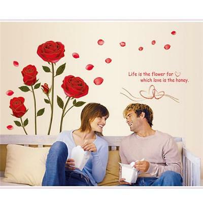 Romantic Red Rose Wall Decor Art Home Mural Diy Sticker Removable Decal AL