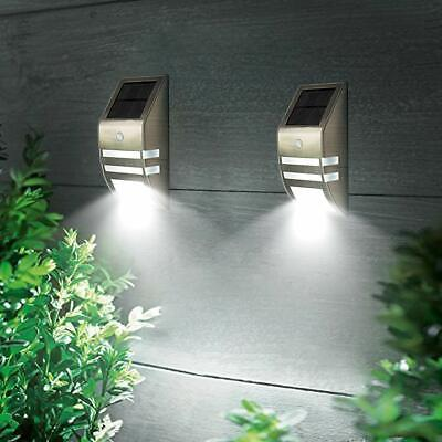 4 Pack Solar Powered LED Wall Light Motion Sensor Security Lamp Stainless steel