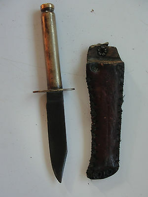 Trench Art Military Knife Out Of A Brass Shell Cartrige And Leather Sheath Old